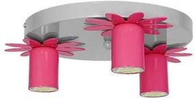 Decoland Detské stropné svietidlo KWIATEK 3xGU10/40W/230V tmavo rúžová DE7876