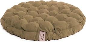 Tmavobéžový sedací vankúšik s masážnymi loptičkami Linda Vrňáková Bloom, Ø 65 cm