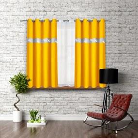 Hotový záves na krúžkoch so zirkónmi 140x160 cm žltý