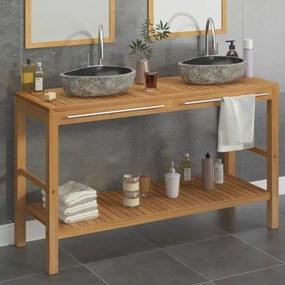 vidaXL Skrinka do kúpeľne z tíkového dreva, umývadlá z riečneho kameňa