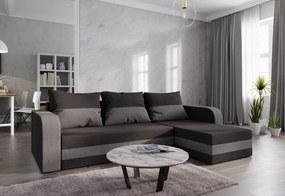Expedo Rohová rozkládacia sedačka WELTA, 237x85x140, čierná/šedá, mikrofáze15/27