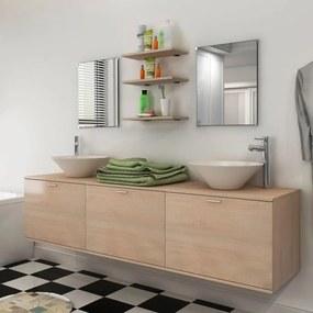 vidaXL 10-dielna béžová sada kúpeľového nábytku s umývadlom a batériou