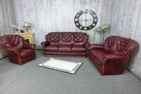 (2878) MALAGA MAGIA 3+2+1 luxusná kožená sedacia zostava bordó
