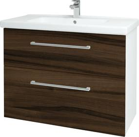Dřevojas - Koupelnová skříň BIG INN SZZ2 100 - N01 Bílá lesk / Úchytka T03 / D06 Ořech (132972C)