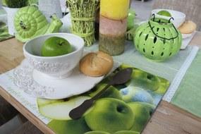 Zelené jablkové korkové prestieranie na stôl 6 ks