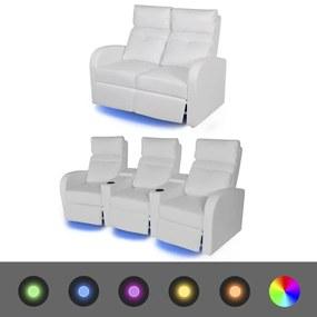 vidaXL Sklápacie 2 a 3-miestne kreslo s LED osvetlením, umelá koža, biele (243596+243597)