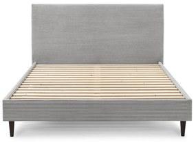 Sivá menčestrová dvojlôžková posteľ Bobochic Paris Anja Dark, 160 x 200 cm