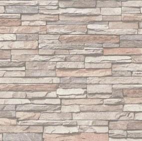 Vliesové tapety na stenu 37215-1, rozmer 10,05 m x 0,53 m, ukladaný kameň béžový, A.S.Création