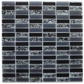 Sklenená mozaika Premium Mosaic černá 30x30 cm lesk MOS4815CRBK