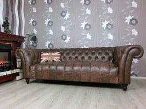CANYON Chesterfield luxusná kožená pohovka hnedá