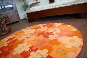 Detský koberec PUZZLE oranžový kruh - 100 cm kruh