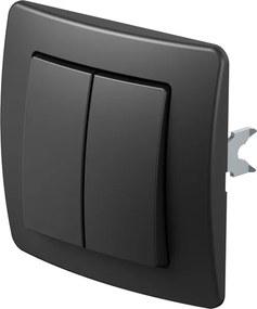 SE63   Striedavý prepínač dvojitý s krytom a rámikom Farba: Čierna lesklá
