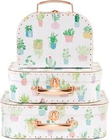 Sass & Belle Kartónový kufrík s motívom kaktusov - stredný