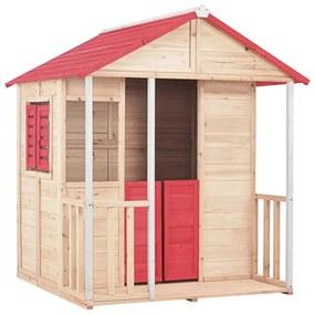 vidaXL Detský domček na hranie červený drevený