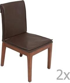 Sada 2 hnedých jedálenských stoličiek s konštrukciou z dubového dreva Santiago Pons Donato