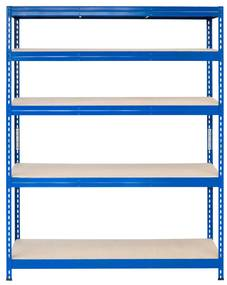 Majster Regál Bezskrutkový kovový regál s HDF policou 180x120x30cm, 5 políc, 250kg na policu, modrá farba