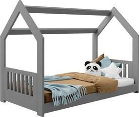 AMI nábytok Detská posteľ DOMČEK D2E 80x160cm masív sivá