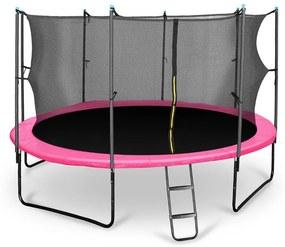 Rocketgirl 430, 430 cm trampolína, vnútorná bezpečnostná sieť, široký rebrík, ružová