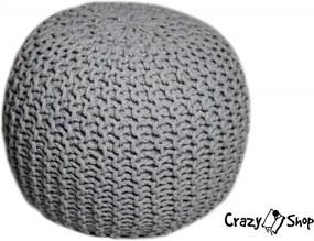 CrazyShop pletený PUF SOLID, šedá