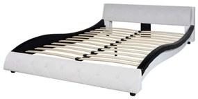 Rám postele, umelá koža, 140x200 cm, čierno-biely