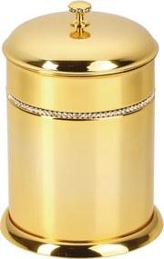 Kúpeľňový kôš  Mimoza s čiernými kryštálmi s poťahom 24k zlata