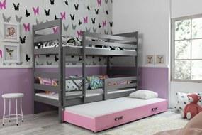 Poschodová posteľ s prístelkou - ERIK 3 - 190x80cm Grafitový - Ružový
