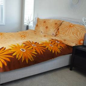 HOD Obliečky MARGARETA oranžová Bavlna 70x90 140x200 cm