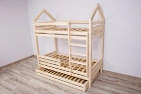Domčeková poschodová posteľ Premium s voliteľnou zábranou rozměr lůžka: 90 x 200 cm, Zábrany: Obě