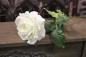 Biela ruža na zelenej stopke 13cm