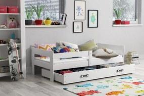BMS Group Jednolôžková posteľ HUGO - so zásuvkou - BIELA