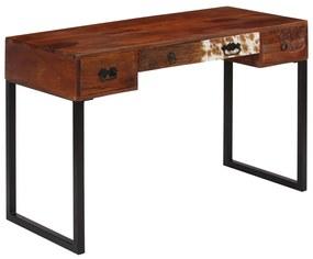 vidaXL Stôl, masívne sheeshamové drevo a pravá koža, 117x50x76 cm