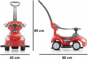 Ecotoys Detské odrážadlo so zvukmi a vodiacou tyčou Auto, červená
