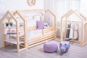 Domčeková posteľ Premium so šuflíkom rozměr lůžka: 90 x 200 cm, šuplík, nožičky: s nožičkami a s šuplíkem, Zábrany: Obě