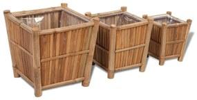 3 kusy bambusových kvetináčov s nylonovou stielkou