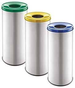Súprava 3 ks kovových odpadkových košov EKO na triedený odpad, objem 3x 45 l, Materiál: kov, Farba: Sivá, Typ: otvorený, Výška: 660 mm, O: 300 mm, Mod