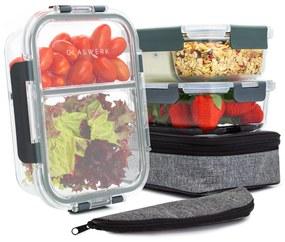 Glaswerk Hopewell, dózy na potraviny, súprava 3 kusov, 1040 ml, borosilikátové sklo, vrchnák, taška