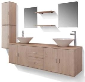11-dielna béžová sada kúpeľového nábytku s umývadlom a batériou