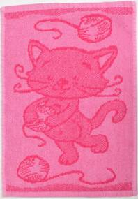 Detský uterák BEBÉ mačička ružový 30x50 cm