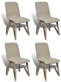 Jedálenské stoličky s dubovým rámom, 4 ks, látkové, béžové