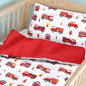 Goldea detské bavlnené obliečky do postieľky - vzor 668 hasičská autá s červenou 90 x 120 a 40 x 60 cm