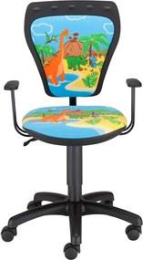 NOWY STYL Ministyle detská stolička na kolieskach s podrúčkami čierna / vzor Dino