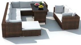 Záhradná 28-dielna polyratanová sedacia súprava, hnedá