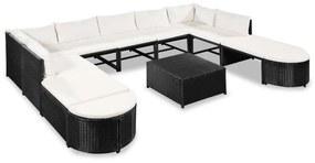 vidaXL Záhradná sedacia súprava z polyratanu 32 ks, čierna a krémová