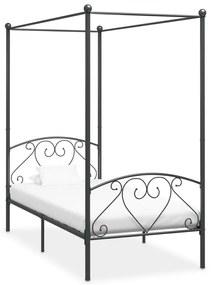 vidaXL Posteľný rám s baldachýnom, sivý, kov 120x200 cm