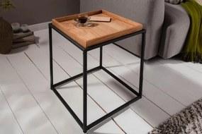 IIG -  Bočný stolík ELEMENTS 40 cm odnímateľný podnos z prírodného duba