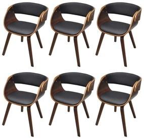Hnedé kuchynské stoličky s dreveným rámom, 6 ks (6x240708)