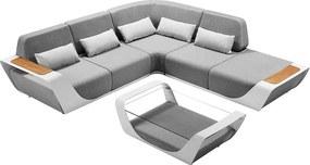 Luxusná sedacia súprava ONDA 4. (biela+sivá+teak)