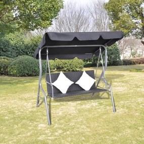 vidaXL Záhradná hojdačka so strieškou, čierna, polyratan