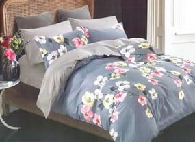 DomTextilu Krásne modro sivé bavlnené posteľné obliečky s kvetmi 3 časti: 1ks 160 cmx200 + 2ks 70 cmx80 Modrá 33037-163707