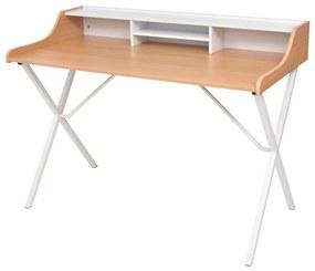 vidaXL Pracovný stôl na PC s 2 zásuvkami, prírodné drevo